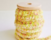 Confectionery tiger Chenille Velvet ribbon trim on a wood Spool -5 yards