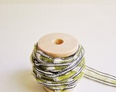 Citrine/ White Art Deco vintage style checked striped lacey woven ribbon trim on a wood Spool -5 yards