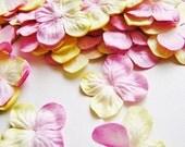 Pink Lemonade Ombre Hydrangea Blossom Vintage style Millinery Flower Petals - 24 pc.