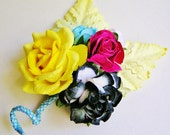 CMYK the Printers Posie Mixed bunch Vintage style Millinery Flower spray/ Bouquet- corsage, holiday wrap, floral shabby chic