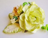Pastelle Apple and Peach green Roses Mixed bunch Vintage style Millinery Flower spray/ Bouquet- corsage, holiday wrap, floral shabby chic