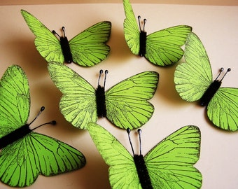 Chartreuse/ Chocolate Vintage style classic Butterflies - for decorating, gift wrapping, weddings, embellishment, holiday