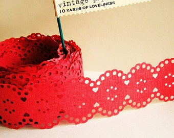 Cherry Red Vintage paper lace Ribbon/ trim - for gift wrapping, altered art, scrapbooking, decorating, weddings, party supply, holiday