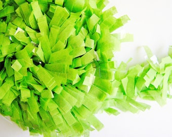 Lime green tissue Fringe Garland/ Trim - for gift wrapping, altered art, scrapbooking, decorating, weddings, party supply, holiday