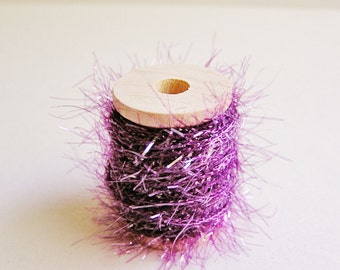 Violet purple petite French Tinsel trim wood spool - dainty, sparkle, glitter, luxe wedding, holiday, craft, supply - 5 yards