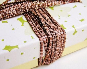 Mocha Sugarcane striped pearl slim shimmer ribbon woven trim - elegant and silky embellishment craft wrap wedding supply - 5 yards