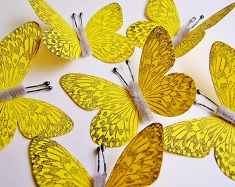 Canary Yellow/ Pewter Vintage style art nouveau Butterflies - wedding, wrap, craft, supply, holiday, gift, handmade, whimsical, party, decor