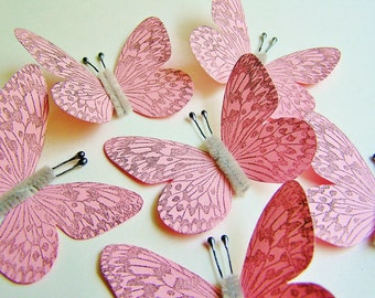 Bubble Gum Pink/ Pewter Vintage style art nouveau Butterflies - wedding, wrap, craft, supply, holiday, handmade, whimsical, party, decor