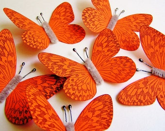 Mandarin Orange/ Pewter Vintage style art nouveau Butterflies - wedding, wrap, craft, supply, holiday, handmade, whimsical, party, decor