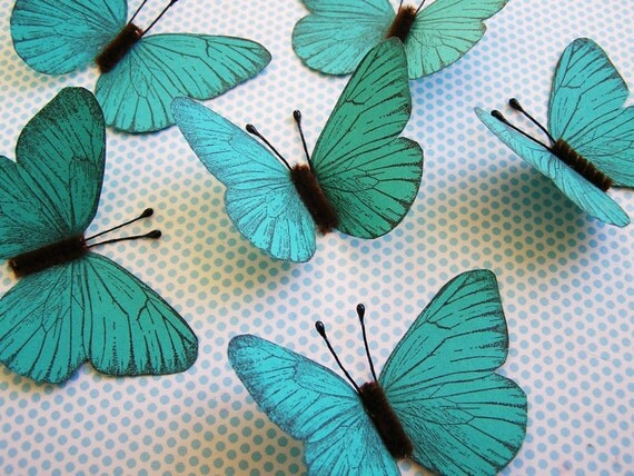 Turquoise Vintage-style Butterflies