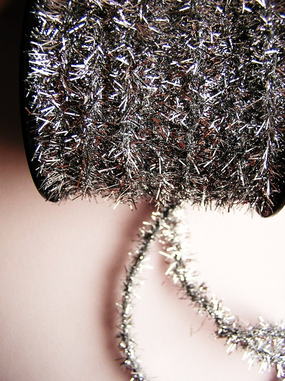 Silver wired tinsel garland trim for gift wrapping altered