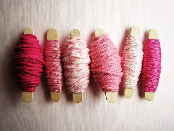 Pink and Raspberry Twine Sampler - for gift wrapping, altered art, scrapbooking, decorating, weddings, party supply, holiday