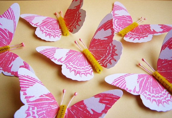 Strawberry Pink/ Lemon/ marshmallow creme Vintage style estelle Butterflies - for decorating, gift wrapping, scrapbooking, altered art, weddings, embellishment, holiday