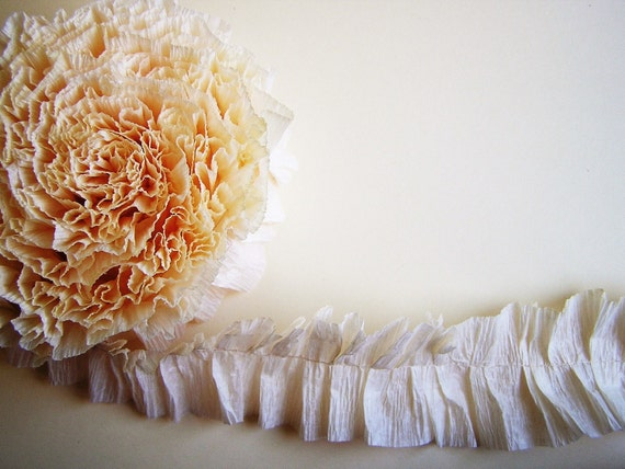 Cream Ruffled Crepe Garland/ Trim - for gift wrapping, altered art, scrapbooking, decorating, weddings, party supply, holiday