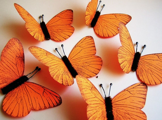 Tangerine/ Chocolate Vintage style classic Butterflies - for decorating, gift wrapping, altered art, weddings, embellishment, holiday