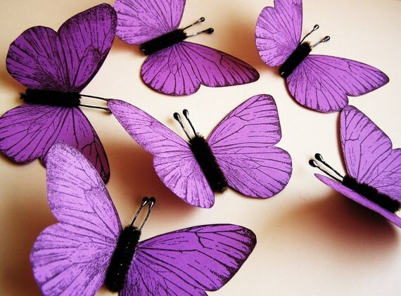 Purple/ Chocolate Vintage style classic Butterflies - for decorating, gift wrapping, altered art, weddings, embellishment, holiday