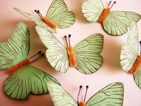 Mint green/ Chocolate Vintage style classic Butterflies