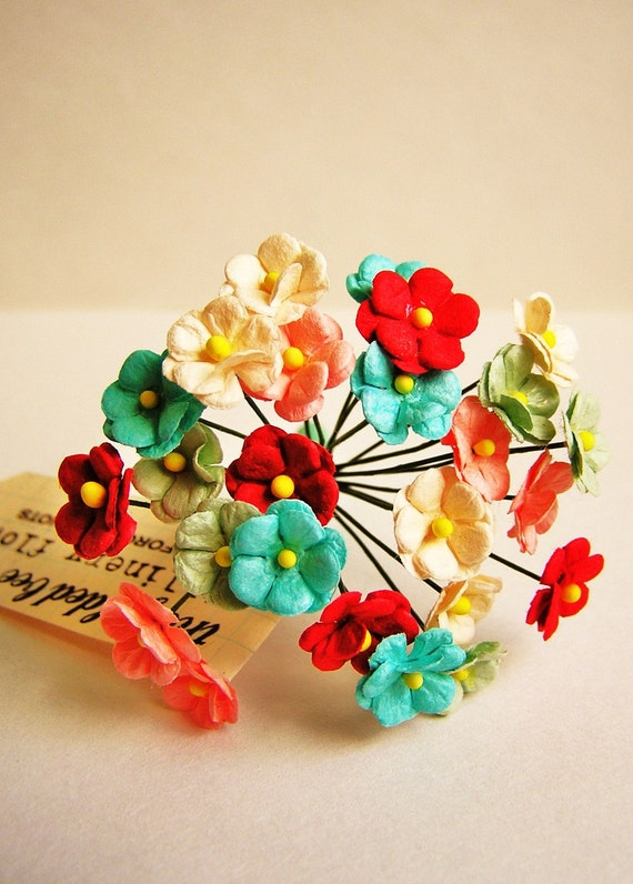 Candy Mix bunch Double Forget me nots Vintage style Millinery Flower Bouquet