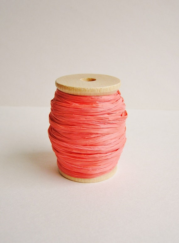 Apricot cello Raffia ribbon Spool - for gift wrapping, trimming, scrapbooking, decorating, weddings, party supply, holiday