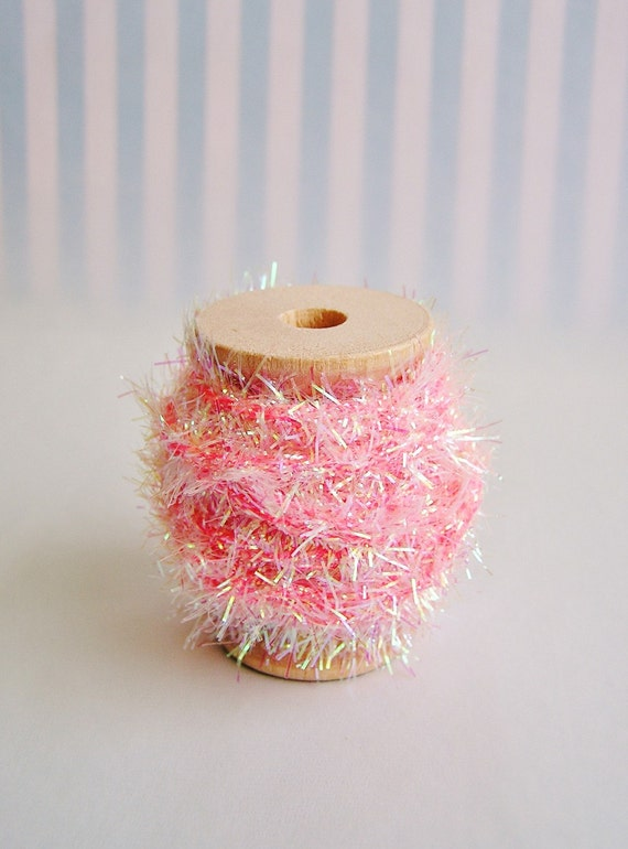 Bubble gum pink iridescent wired tinsel garland trim spool