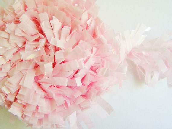 Pastel Pink tissue Fringe Garland/ Trim - for gift wrapping, altered art, scrapbooking, decorating, weddings, party supply, holiday
