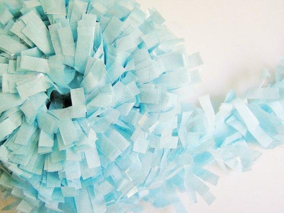 pastel blue tissue fringe garland trim for gift wrapping. Black Bedroom Furniture Sets. Home Design Ideas