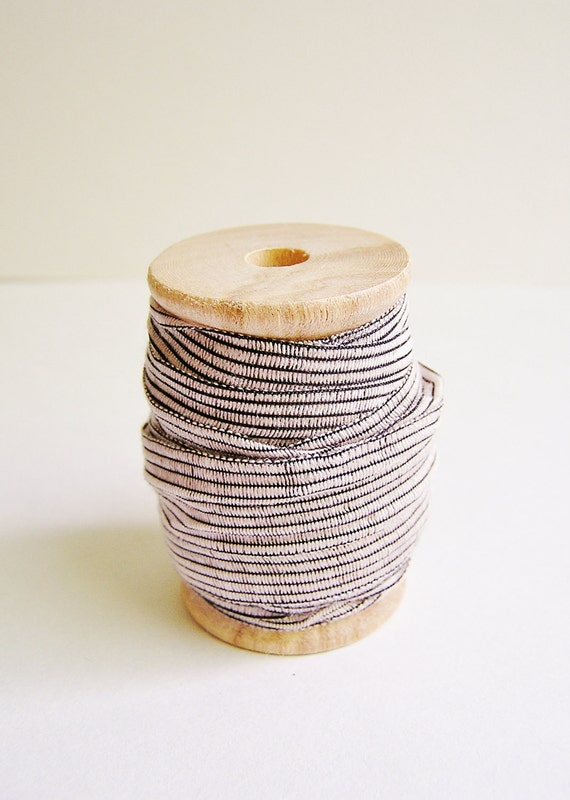 Malt and Black Pinstripe ribbon on a wood Spool- lovely striped trim vintage style holiday wedding craft embellishment supply - 10 yds