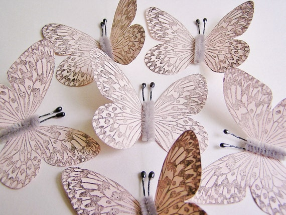 Shell Pink/ Pewter Vintage style art nouveau Butterflies