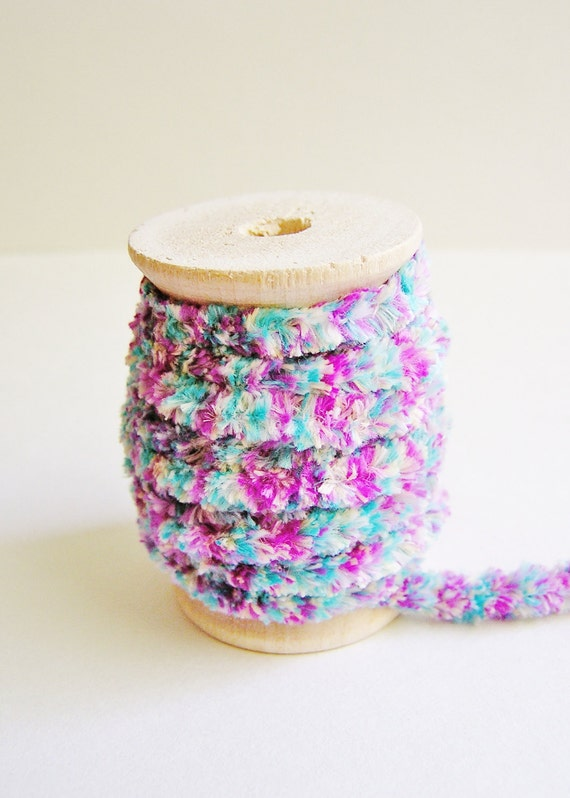 Turquoise and Peony Chenille Velvet ribbon trim on a wood Spool -5 yards