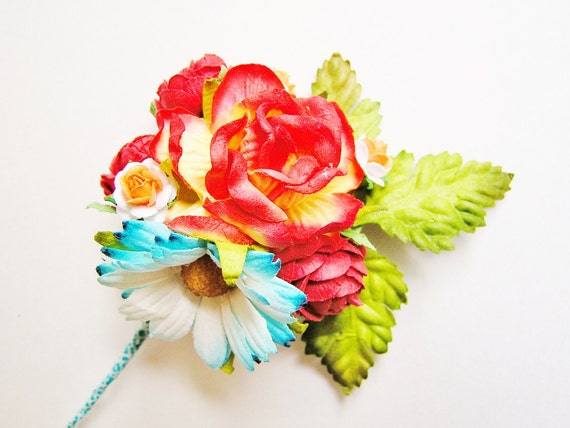 Maraschino cherry red pastel yellow and aqua blue Rose and daisy/ Mixed bunch Vintage style Millinery Flower spray/ Bouquet