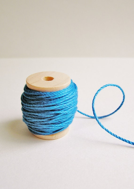 Peacock blue cotton bakers twine trim on a wood Spool -15 yards