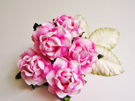 Bubble Gum Pink English Garden Roses with Moss/ Cream ombre leaves Vintage style bunch Millinery Flower Bouquet - 5 FL - 3 L