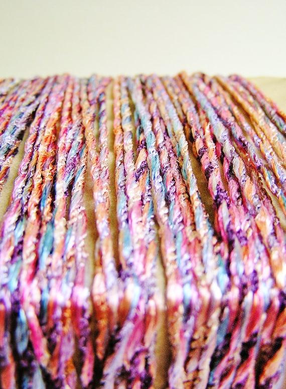 Peach Berry Carnival Taffy Cording striped pearl shimmer ribbon rayon trim - elegant embellishment craft wrap wedding supply - 5 yards