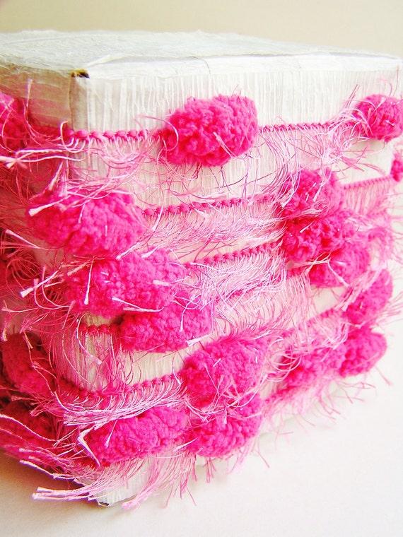 Bright Raspberry Pink lush Fringed Pom Pom Garland/ Trim - luxe party ribbon garland wedding embellishment craft decor supply - 3 yards