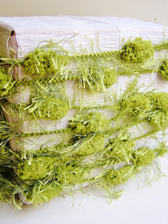 Moss Green lush Fringed Pom Pom Garland/ Trim - luxe party ribbon garland wedding embellishment craft decor supply - 3 yards