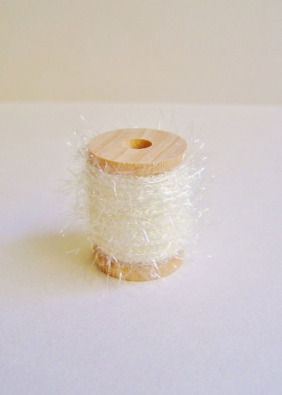 Marshmallow Creme white petite French Tinsel trim wood spool - dainty, sparkle, glitter, luxe wedding, holiday, craft, supply - 5 yards