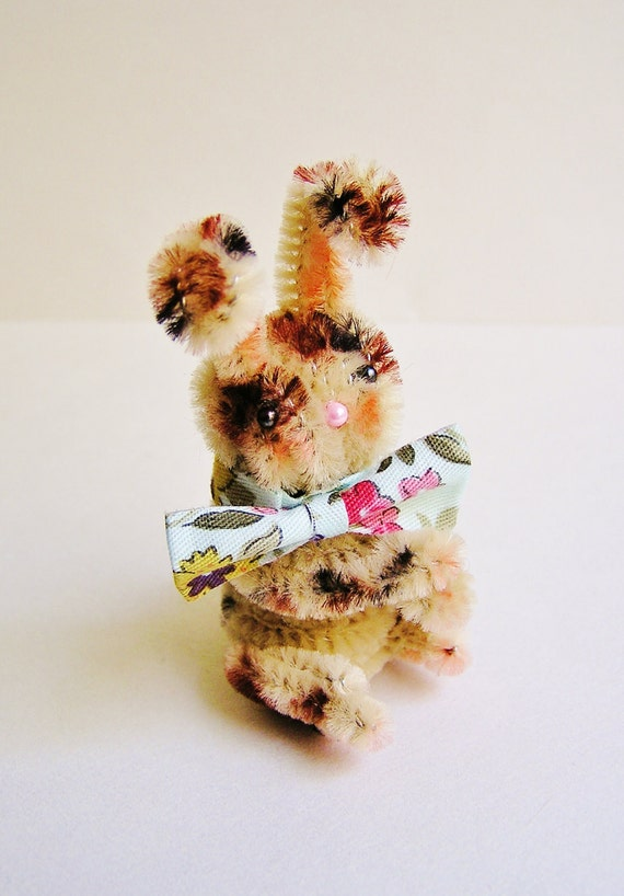 Harrison the Bunny -- vintage style chenille handmade wired miniature animal - ooak, ornament, gift, topper, petite decor