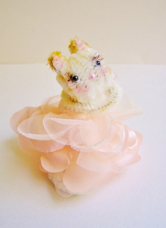 Mucha the Kitty -- vintage style chenille handmade wired miniature animal - ooak, ornament, gift, topper, petite decor
