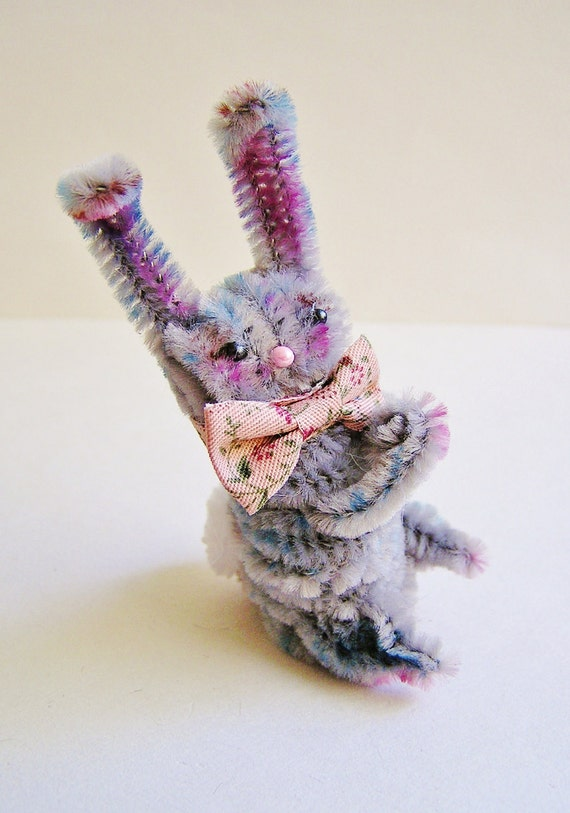 Rutherford the Bunny -- vintage style chenille handmade wired miniature animal - ooak, ornament, gift, topper, petite decor