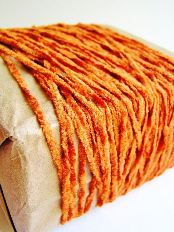 Orange spice Tapestry Chenille slim ribbon luxe vintage style rayon velvet trim fabulous embellishment and wrap supply - 6 yards