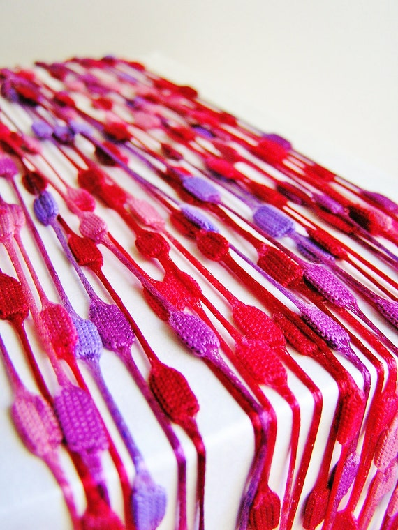 Cherry Berry Violet red purple Mod Cube Garland woven Trim - luxe party ribbon garland wedding embellishment craft decor supply - 3 yards