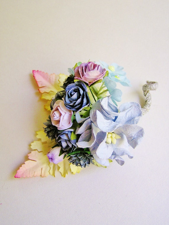 Powder Blue and Pewter Gardenia Mixed bunch Vintage style Millinery Flower spray/ Bouquet- corsage, holiday wrap, floral shabby chic