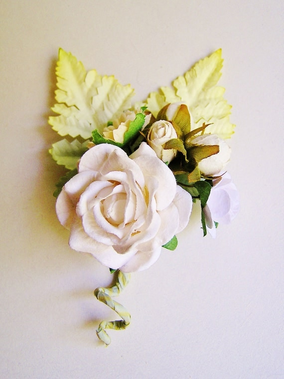 Creamy White Mixed bunch Vintage style Millinery Flower spray/ Bouquet- corsage, holiday wrap, floral shabby chic