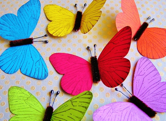 Rainbow Sampler/ Chocolate Vintage style classic Butterflies - for decorating, gift wrapping, weddings, embellishment, holiday