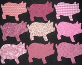 9 Easy to Use Pink Pig Fabric Appliques  ----Just Iron On---...Ship Worldwide