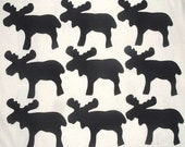 9 Easy to Use Lodge/Cabin Black Moose Fabric Appliques  ---Just Iron On---
