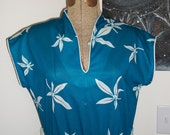 Vintage Turquoise Blue Day Dress with Bamboo Leaf Print