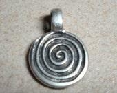 Mykonos Greek Pewter Spiral Pendant (Medium)