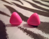 Hot Pink Triangle Candy Button Earrings