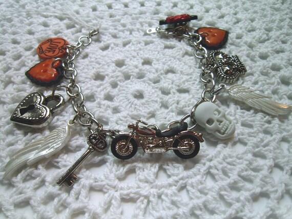 RESERVED Harley Davidson Biker Chic Charm Bracelet